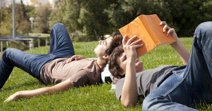 Jongens liggen te lezen in een park