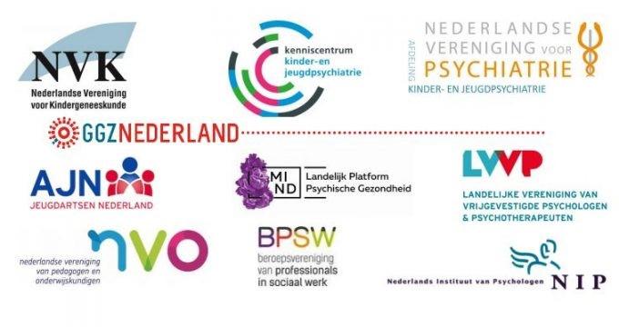 Logo's van de organisaties die de reactie op het rapport ondertekend hebben