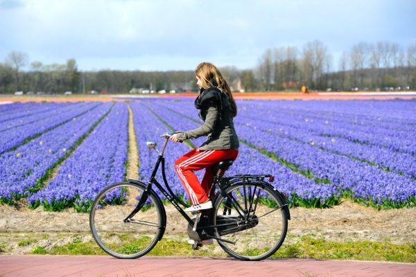 Meisje fietsen bloemenveld